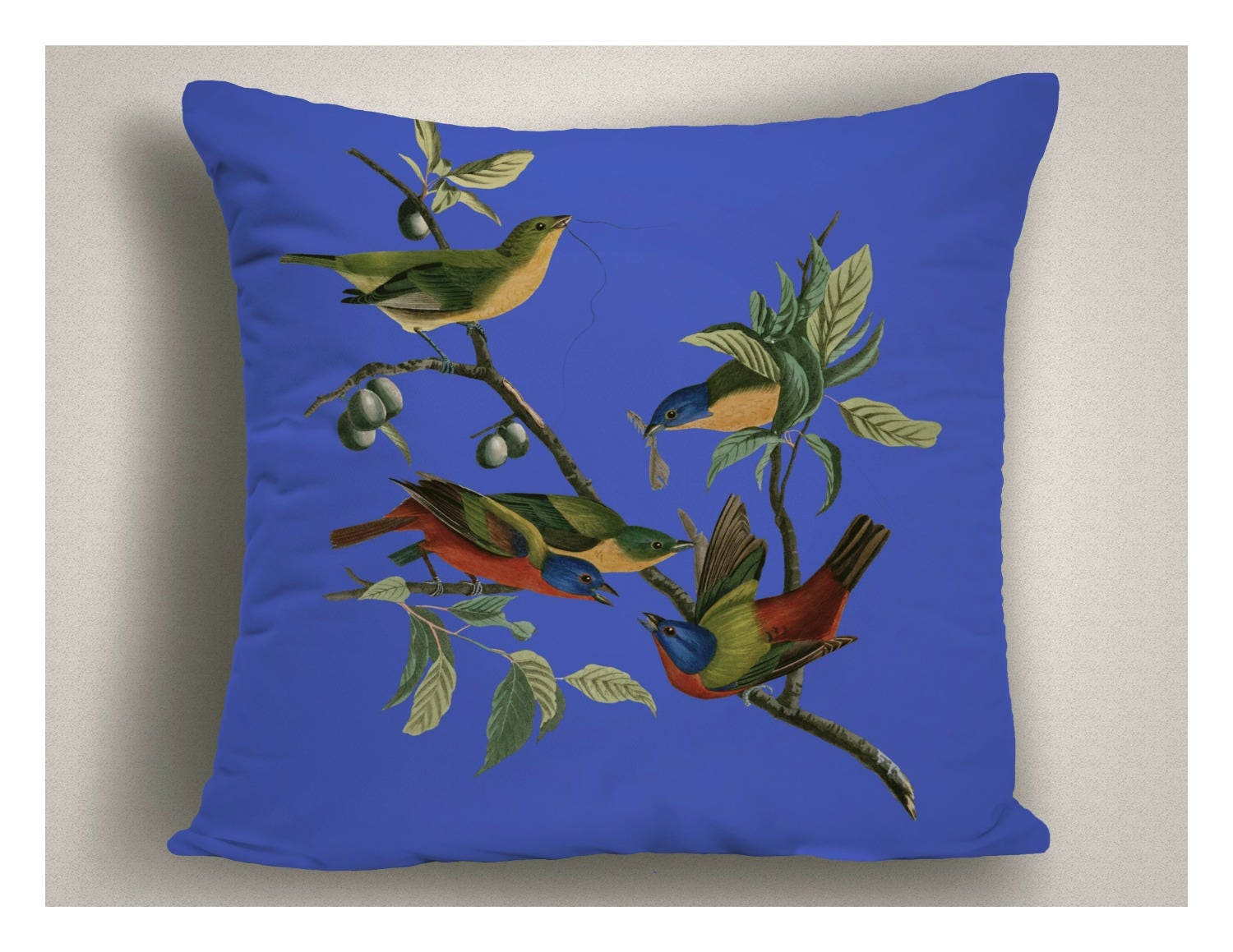 Royal Blue Outdoor Throw Pillow Painted Buntings Decorative Patio