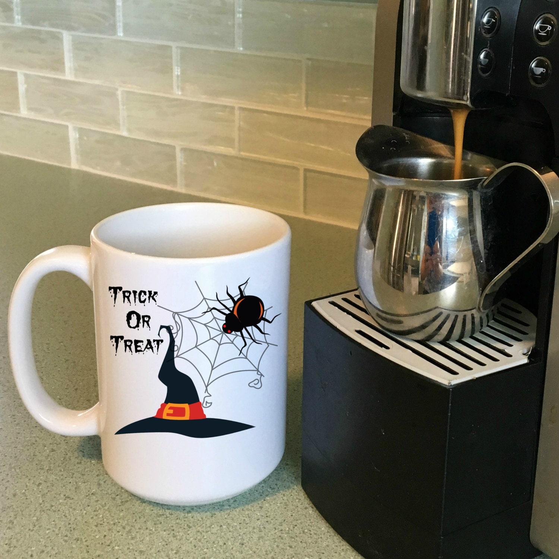 trick or treat mugs, halloween coffee mugs, halloween decorations