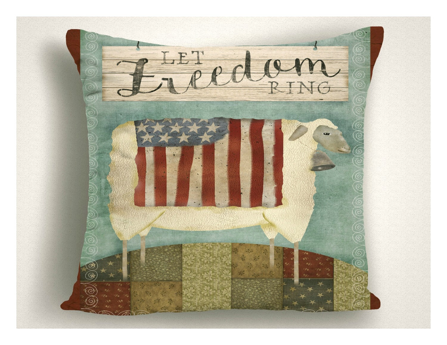 Primitive Americana Throw Pillow Let Freedom Ring 4th Of July Decor