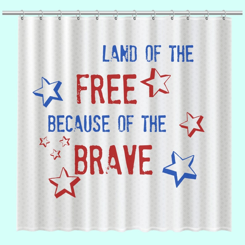Patriotic Shower Curtain Land Of The Free Americana