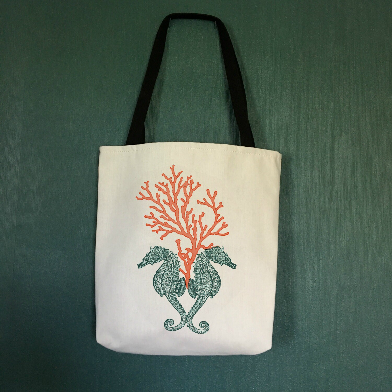 Large Beach Bag With Seahorse Design Beach Tote Bags