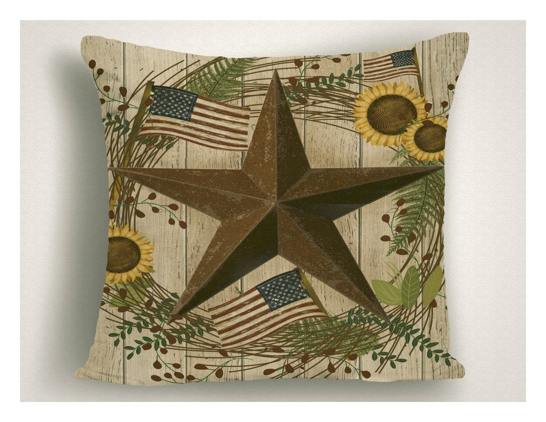 Rustic Americana Outdoor Pillow Patriotic Outdoor Pillows