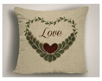 French Country Valentine Pillow, Farmhouse Heart Pillow Cover, Rustic Canvas Heart Throw Pillow, Romantic Farm House Decor, Valentine Decor