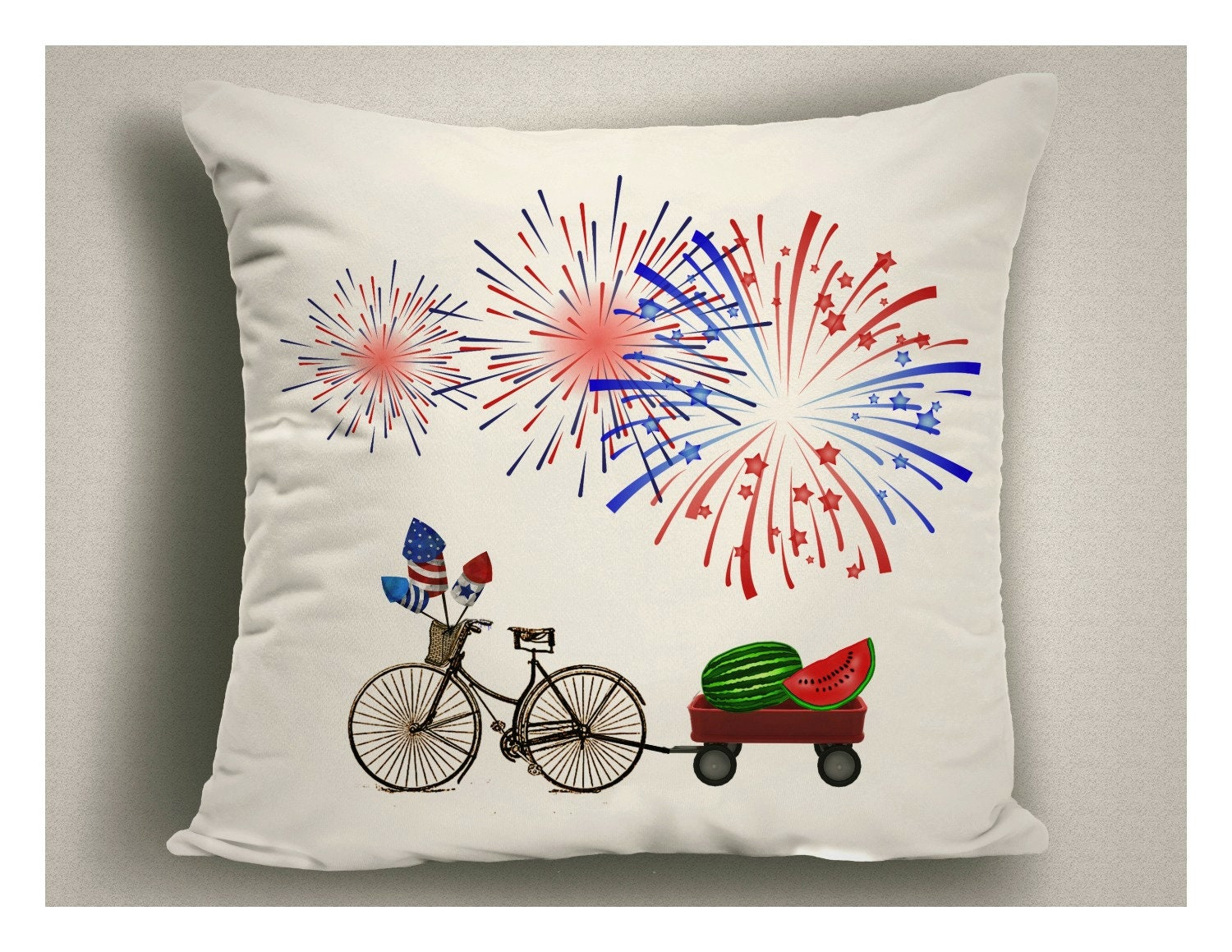 Outdoor 4th Of July Throw Pillow Red White Blue Fireworks Patriotic