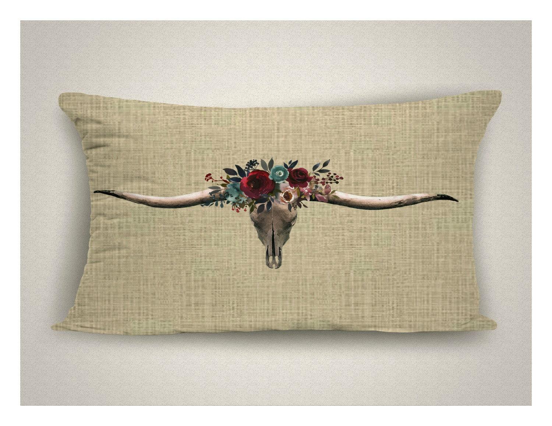 Rustic Americana Big Horn Steer Canvas Accent Pillow