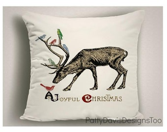 Christmas Pillows with Reindeer and Birds, Unique Christmas Decorations, Holiday Pillows, Christmas Throw Pillow Covers
