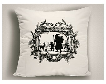 Christmas Pillows with Vintage Santa,  Vintage Christmas Decorations, Holiday Pillows, Christmas Throw Pillow Covers