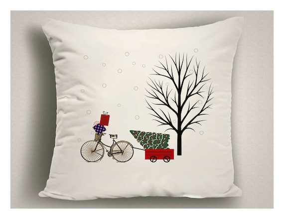 Bike Lover Gift Christmas Throw Pillow Bicycle And Tree Etsy