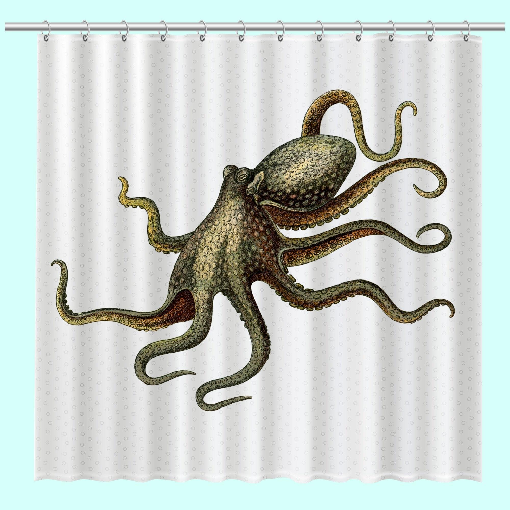 Octopus Shower Curtain Unique Beach House Decor Ocean