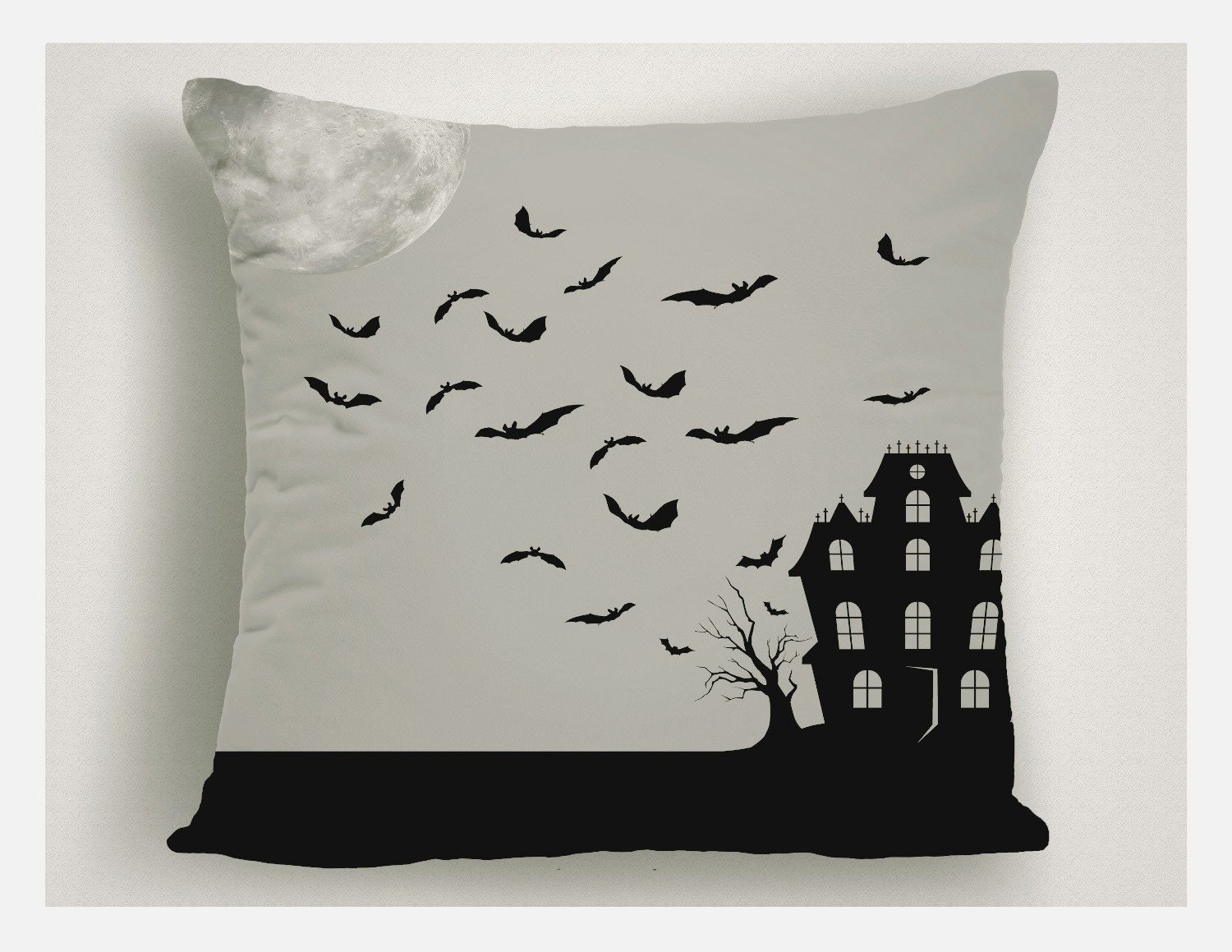 halloween accent pillow haunted house, halloween throw pillow