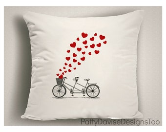 Valentine Gift for Her, Love Pillow with Tandem Bicycle and Hearts, Valentine's Day Decor, Valentine Pillow Covers, Gifts for Bicycle Lovers