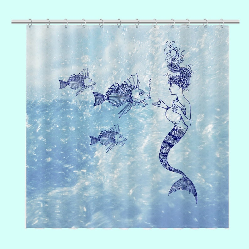 Shower Curtain Beach Decor Mermaid Feeding Fish Bath