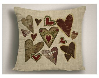 Country Decor Pillow, Farmhouse Hearts Pillow Covers, Rustic Hearts Throw Pillow, Valentine Decor, Farm House Decor, Valentine Pillow