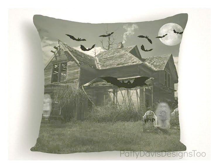 Haunted House Throw Pillow Halloween Pillow Covers Cemetery Enchanting 16 X 20 Pillow Cover