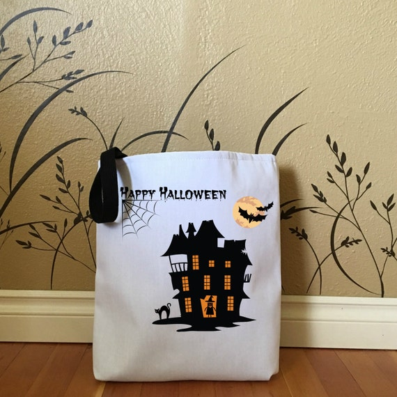 trick or treat bag with spooky house kids tote bags cute halloween bags