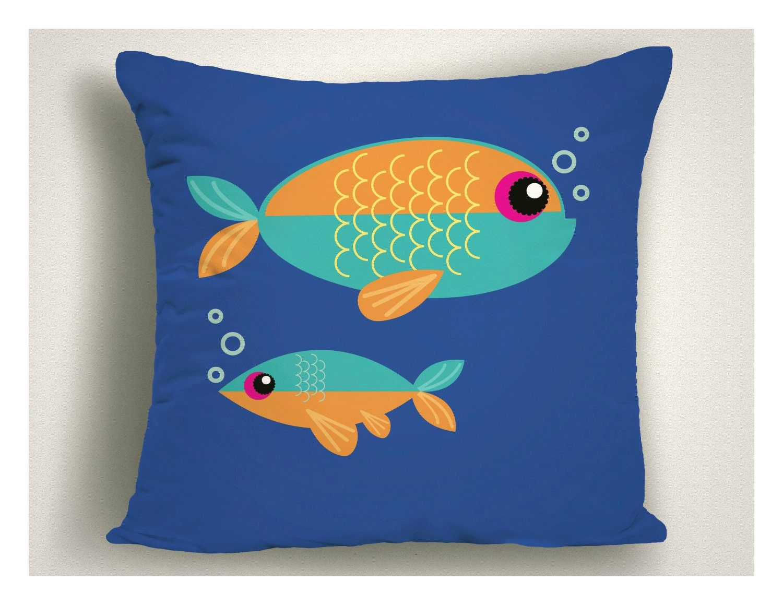 Blue Orange Fish Outdoor Patio Beach Porch Pillows Many
