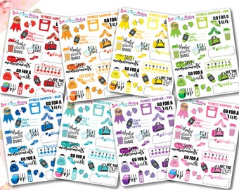 Fitness / Health samplers! - Multicolor - set of 23 stickers for your Erin Condren, Happy Planner, or Travelers Notebook!