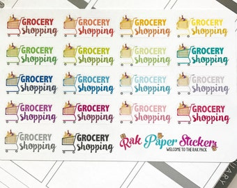 Grocery Shopping! - set of 18 stickers for your Erin Condren, Inkwell Press, Happy Planner or other calendar or planner!