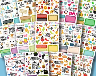 Holiday Samplers! - a year of decorative holiday stickers - erin condren, happy planner, travelers notebook, plum paper, inkwell press