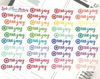 Tar-jay (Target) Shopping! - set of 46 stickers for your Erin Condren, Inkwell Press, Happy Planner or other calendar or planner!