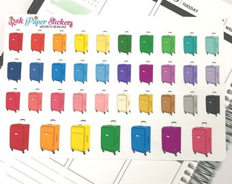 Suitcases and Packing! multicolor - set of 37 stickers for your Erin Condren, Happy Planner, Inkwell Press, other calendar or planner