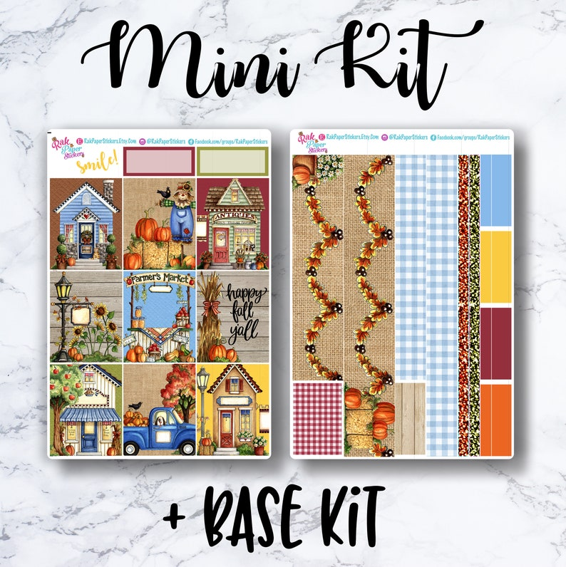 Autumn Village - Build a Kit - Weekly Kit for Erin Condren Vertical, or  other planner