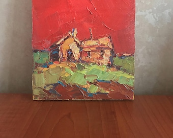 Original Abstract Painting Small Landscape Original Landscape Painting Oil on Canvas Handmade Abstract Painting on Canvas  Housewarming Gift