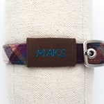 "RESERVED for Maks // silent dog tag to match purple plaid flannel collar - personalized with dog's name - slides onto 3/4"" collar"