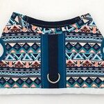 RESERVED for Maks // small dog bow tie with snap attachment for harness - in navy and teal tribal print swim fabric