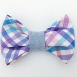 RESERVED for Maks // small dog bow tie with snap attachment for harness - purple and light turquoise pastel plaid with oxford strap