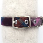 RESERVED for Maks // medium dog collar - purple, orange, and blue plaid flannel with brown canvas lining
