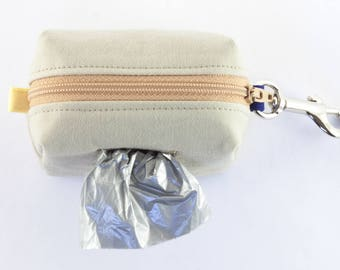 Dog poop bag holder in light beige with blue & white nautical stripes // clip on mini dopp kit zipper pouch // gifts for dog lovers