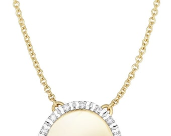 14k Two tone Gold Chain+Center Element Oval Pendant with.Diamond -Free Engraving
