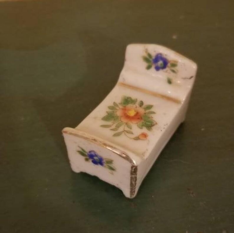 Tiny Doll sized China Tea Set and Tiny China Bed