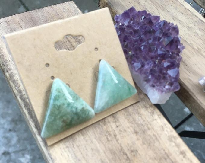 Heart Healer Studs | Aventurine Crystal Triangle Earrings
