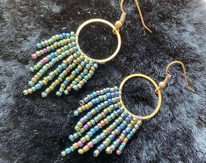 Iridescent Fringe Earrings   Dark Rainbow Beaded Jewelry   Dangle Earrings   Seed Bead Earrings   Fringe Earrings