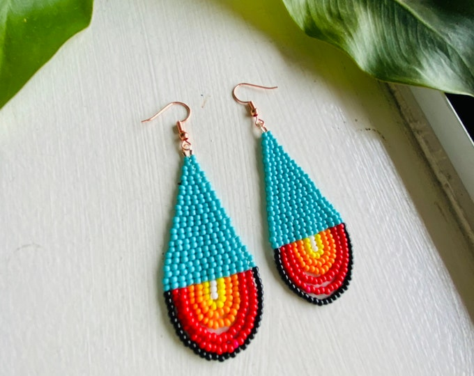 Native Style Beaded Earrings | Bead Woven Looped Fringe Earrings | Seed Bead Jewelry | Turquoise Statement Earrings | Matching Necklace |