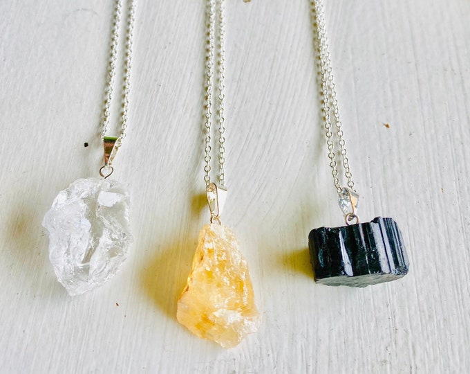 Raw Crystal necklaces | Crystal Jewelry | Crystal Chunk Necklaces | Clear Quartz, Citrine, Tourmaline | Healing Stones