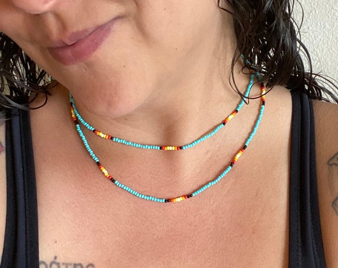 Beaded Necklace | Layered Beaded Jewelry | Native Designed Jewelry | Seed Bead Necklace | Boho Choker