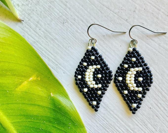 Starry Night Earrings | Beaded Earrings | Seed bead Jewelry | Crescent Moon Earrings | Lunar Jewelry | Moon and Star Jewelry