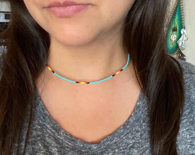 Simple Beaded Choker | Turquoise or black | Single Strand Seed Bead Necklace | Native Designed | Boho Choker