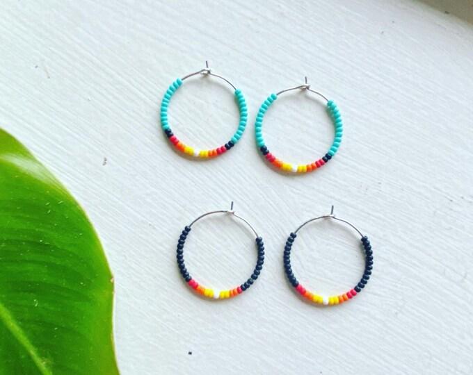 Beaded Hoop Earrings | Indigenous Designed | Seed bead Jewelry | Beadwork Earrings | Hoop Jewelry | Silver Hoop Earrings
