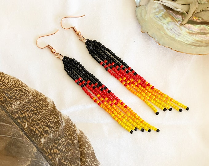 Fire Inspired Bead Dangles | Fringe Seed Bead Earrings | Boho Style | Dangle Earrings | Seed Bead Earrings |