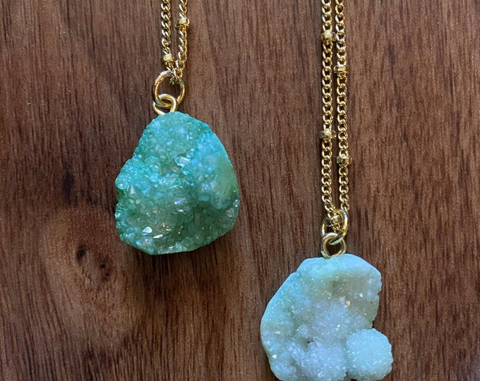 Green Druzy necklaces | Raw crystal jewelry