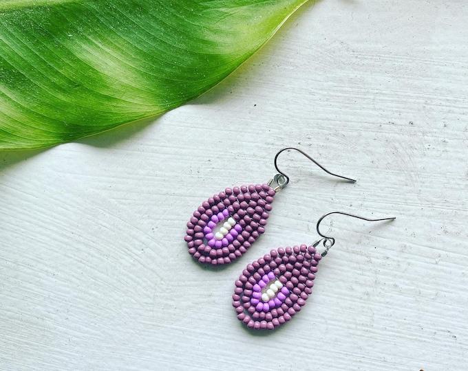 Purple Rainbow Earrings | Looped Fringe Beaded Jewelry | Lavender Dangle Earrings | Seed Bead Earrings | Fringe Earrings |