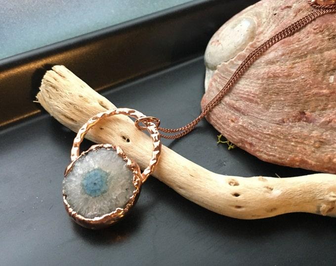 Solar Power pendant | Solar Quartz crystal necklace | Electroformed jewelry