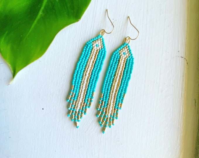 Turquoise, gold & ivory beaded earrings | Indigenous Jewelry | Seed bead earrings | Boho  Jewelry | Woven bead fringe earrings