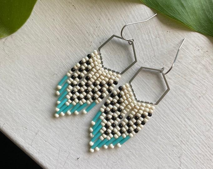 Black & White Beaded Fringe Earrings | Checkered Seed Bead Earrings | Beaded Dangle Earrings | Seed Bead Earrings | Boho Jewelry