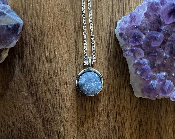 Gray Druzy Crystal Necklace