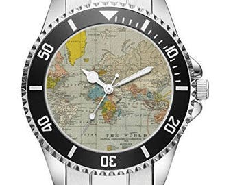 World map watch etsy uk world map gift fan article accessories watch 2635 gumiabroncs Gallery